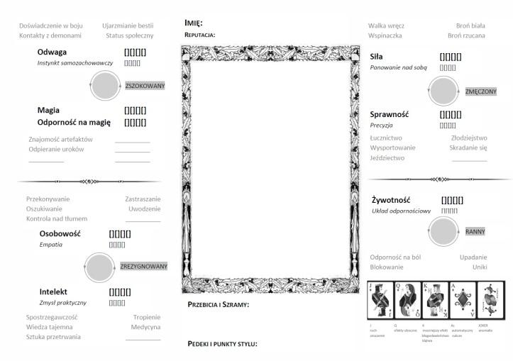 Przykładowy wygląd karty postaci (po kliknięciu otwiera się pdf, 700Kb).