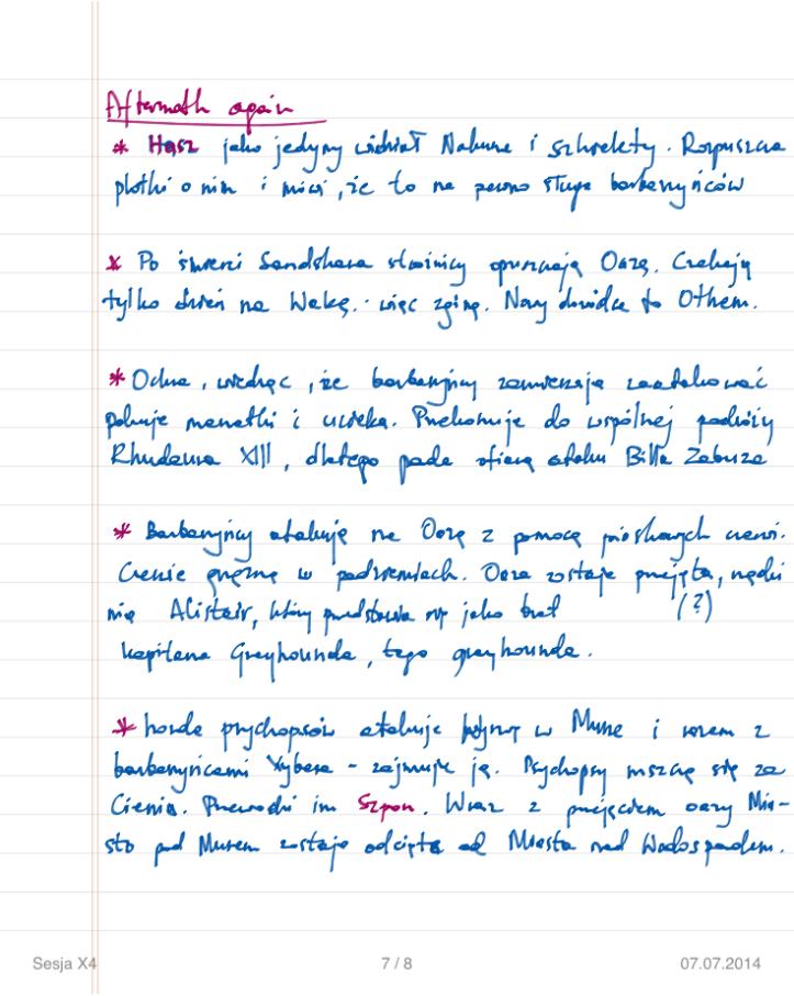 Robiłem takie zapiski dla wielu sesji kampanii. Tutaj przykładowa notatka po sesji. Jak widać mam poplanowane niektóre wydarzenia z przyszłości i konsekwencje rozmaitych scen lub ich braku.
