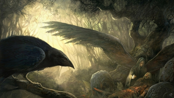 wings_death_forest_fantasy_art_goddess_ravens_celtic_mythology_badb_catha_1600x900_wallpaper_Wallpaper HD_2560x1440_www.paperhi.com