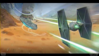 elena-konstantinova-starwars-millenium-falcon-tie-fighter-chase-fanart